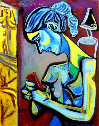 Woman Reading a Message on a Mobile Phone Painting