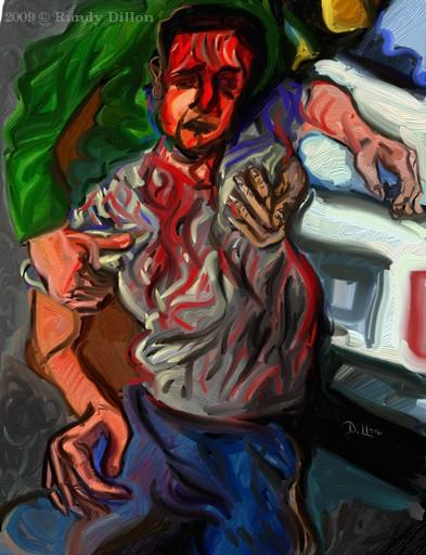 Injured Man in Street print