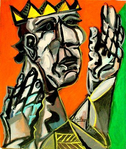 King with Hands in Air painting