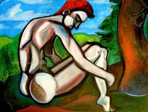 Reclining Woman with Short Hair painting