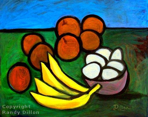 Still Life with Oranges_ Bowl of Eggs and a Bunch of Bananas