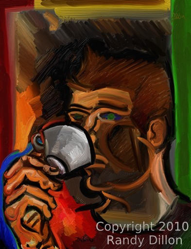 Fine Art Print - Man Drinking from Tea Cup