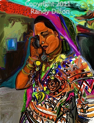 Fine Art Print - Bengali Woman with Henna Tattoo in Village on Mobile Phone