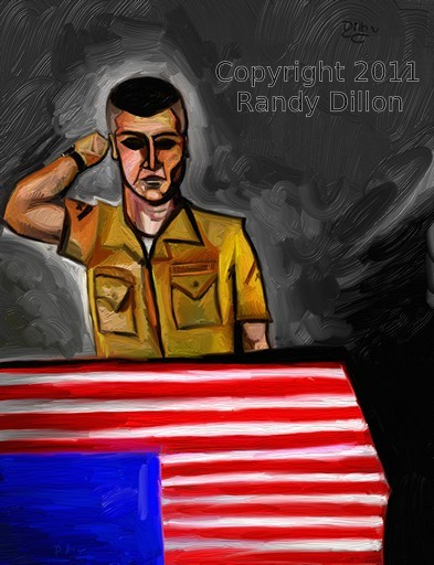Fine Art Print - Wounded Veteran Saluting Casket Draped with an American Flag