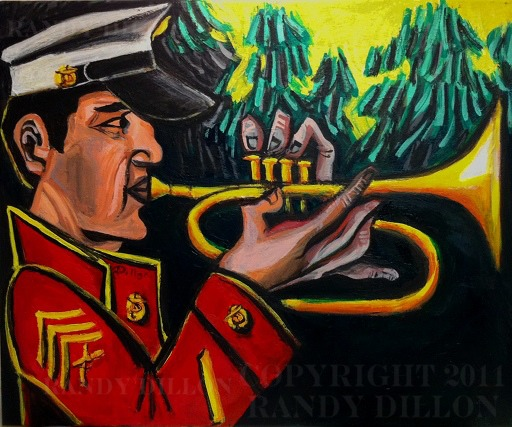 Painting - Marine Sergeant and Trumpet