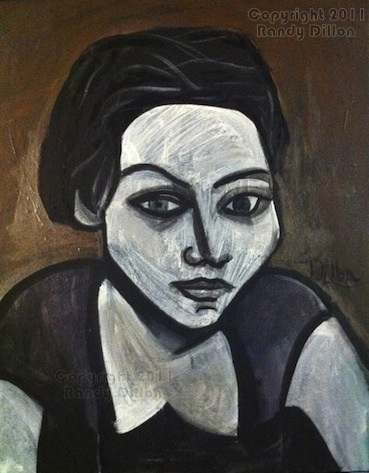 Portrait of a Woman with Dark Hair - Painting