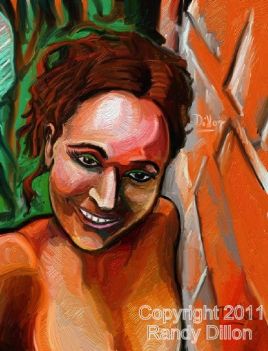 Fine Art Print - Smiling Woman Leaning against Brick Wall in October