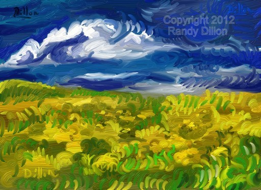 Fine Art Print - Landscape with Field of Yellow Flowers
