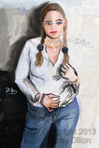 Blonde Woman with Pigtails and Blue Jeans - Fine Art Print