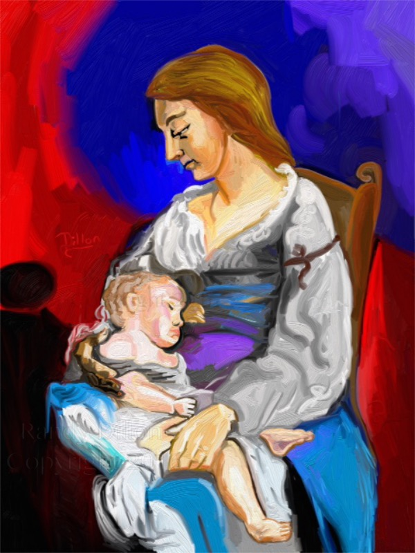 Fine Art Print - Woman holding baby on lap