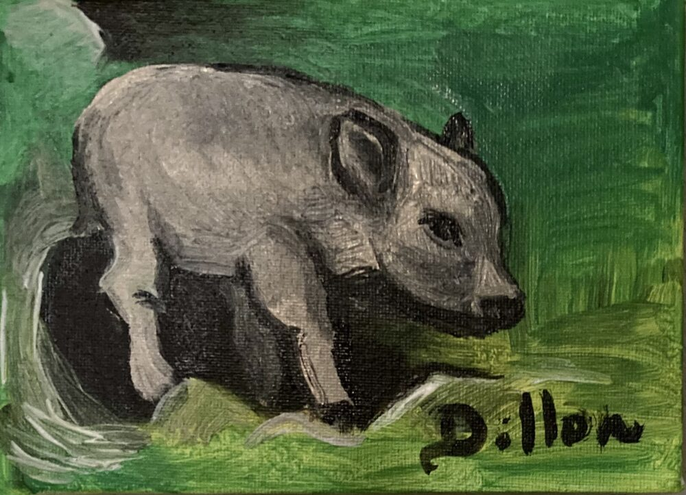 Painting on canvas of piglet